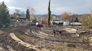 Construction du bassin et de son lagunage