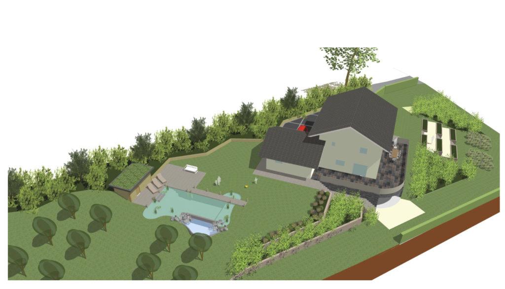 Projet d'aménagement global avec piscine naturelle